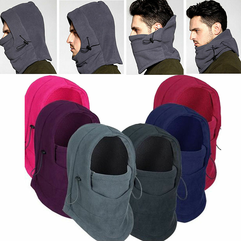 Winter Thermal Fleece Men Lady Ski Face Mask Neck Warmer Hood Hats Cap Outdoor Riding TC21