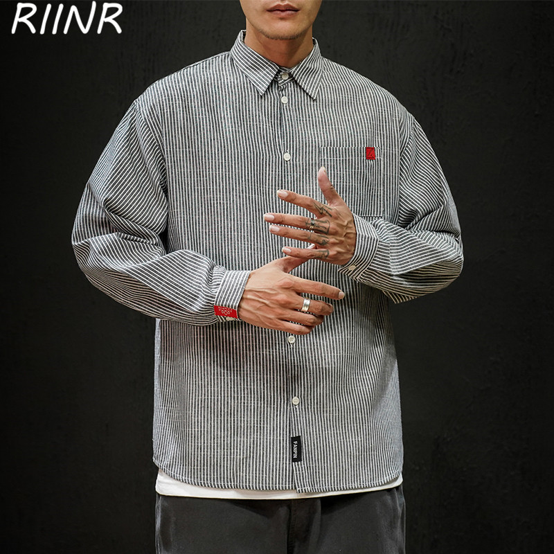 Riinr 2020 Spring And Autumn New Loose Striped Long-Sleeved Shirt Men's Casual Lapel Top M-5XL