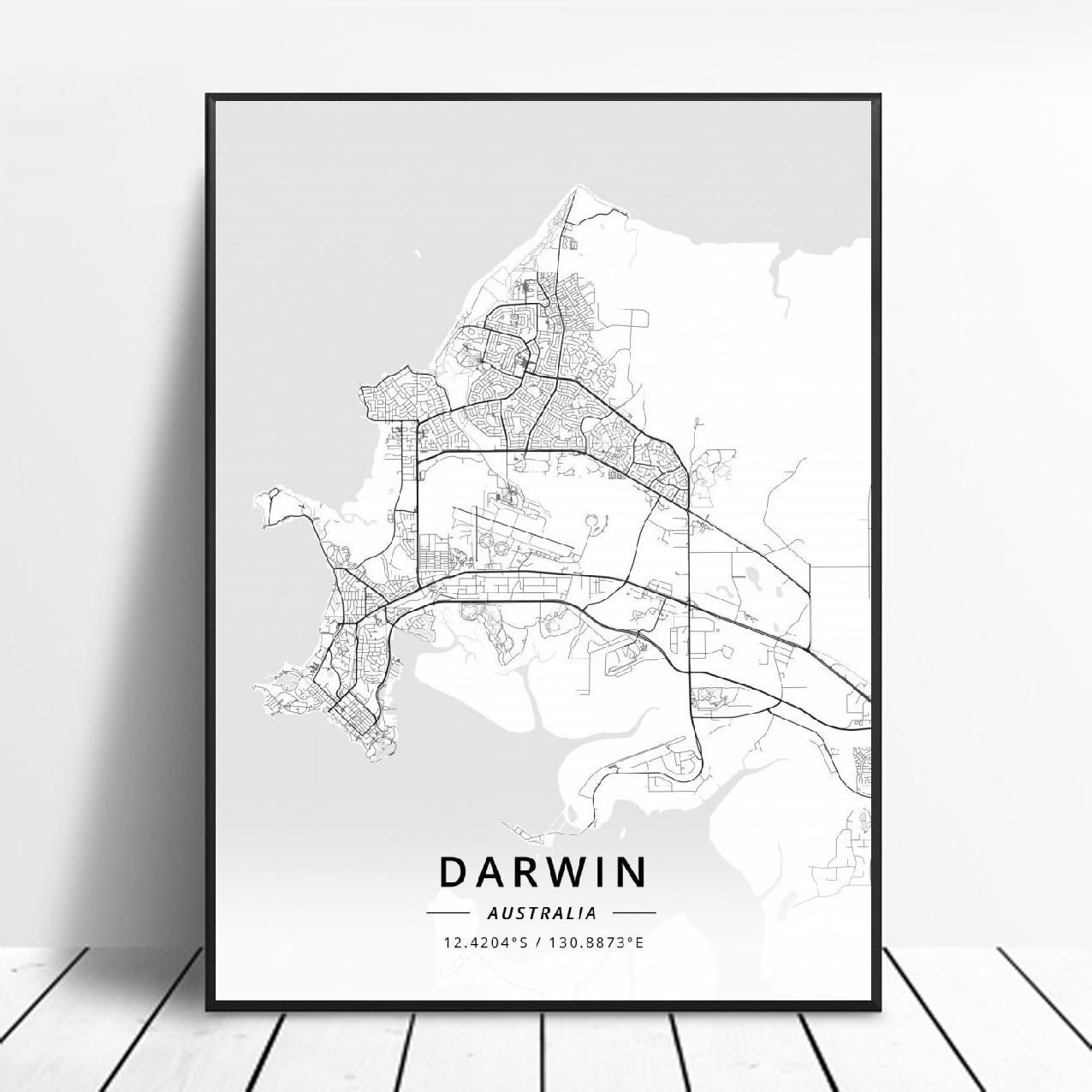 Adelaide Cairns Darwin Gold coast <font><b>Sydney</b></font> Australia Map Canvas Art Poster image