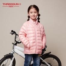 THREEGUN çocuk kız erkek çocuk ceketi 90% ördek uzun kaban kış çocuk ceket yürümeye başlayan giyim süper hafif kış giyim