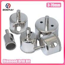 Boerray 3-70 мм сверло бит алмаз покрытие для стекла плитки мрамора керамики отверстия пилы сверления мульти размер алмаз стержень бит
