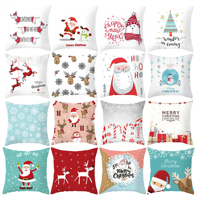 45X45CM Pillow Case Merry Christmas Decoration For Home 2019 Christmas Ornament Christmas Gift Cristmas Noel Happy New Year 2020 4