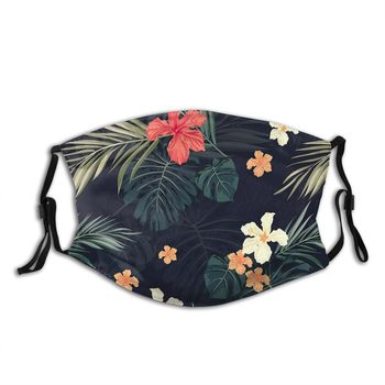 Dark Tropical Flowers Reusable Trendy Mouth Face Mask with filters Anti Haze Cold Proof Winter Protection Cover Respirator Adult недорого