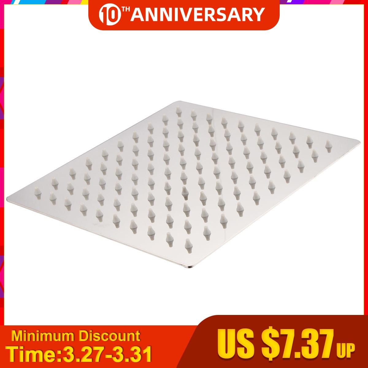 20x20cm 8 Square Stainless Steel Rain Shower Head Rainfall Bathroom Top Sprayer Thin High Pressure