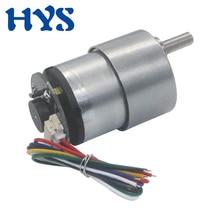 цена на DC 6V 12V 24V Encoder Gear Motor Electric Reducer DC 12 Volt V Micro Motor 7/12/20/37/178/530rpm Reverse Encoder Motors 37GB-520
