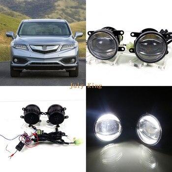 July King 1600LM 24W 6000K LED Light Guide Q5 Lens Fog Lamp +1000LM 14W Day Running Lights DRL Case for Acura RDX 2010-2016
