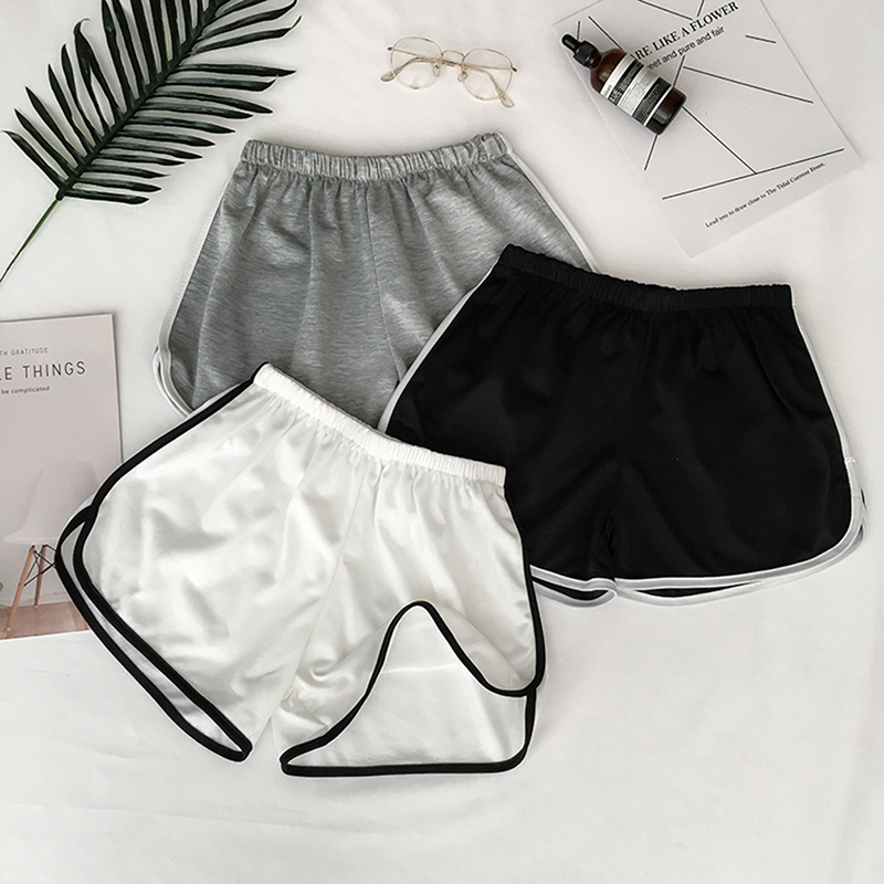 Zogaa Summer Street Casual Female Stretch Shorts Contrast Elastic Waist Correndo Shorts Mid Waist Causal Cotton Sexy Home Shorts