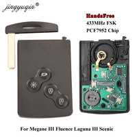 Jingyuqin handsfree keyless cartão inteligente para renault megane iii fluence laguna iii scenic 2009-2015 433 mhz fsk pcf7952 chave remoto