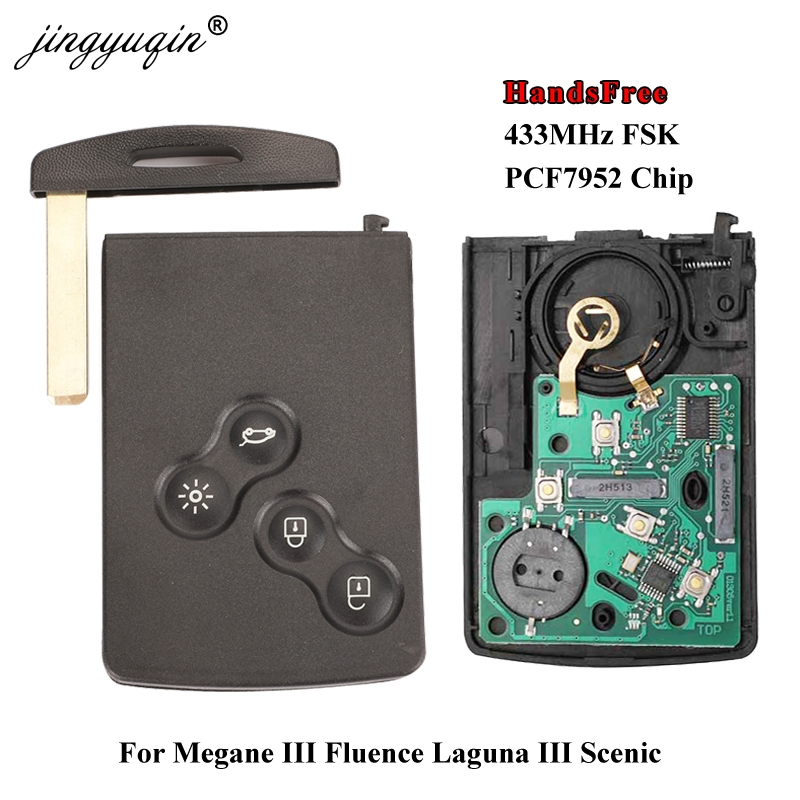Jingyuqin 핸즈프리 열쇠가없는 스마트 카드 renault megane iii fluence laguna iii scenic 2009-2015 433 mhz fsk pcf7952 key remote