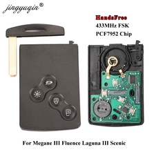 Jingyuqinแฮนด์ฟรีKeylessสมาร์ทการ์ดสำหรับเรโนลต์Megane III F Luence Laguna IIIจุดชมวิวคลีโอC Aptur Koleos 433 เมกะเฮิร์ตซ์FSK PCF7952 กุญแจรีโมท