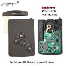 Jingyuqin zestaw głośnomówiący bezkluczykowa karta inteligentna dla Renault Megane III Fluence Laguna III sceniczny Clio Captur Koleos 433MHz FSK PCF7952 klucz zdalnego