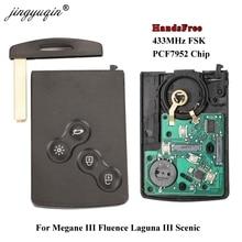 jingyuqin HandsFree Keyless Smart Card For Renault Megane Fluence Laguna Scenic Clio Captur Koleos 433MHz FSK PCF7952 Key Remote