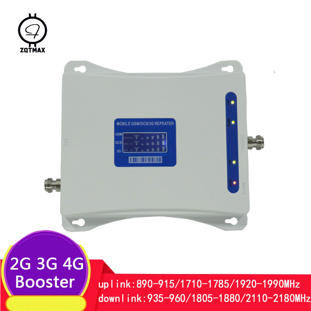 ZQTMAX 70dB 2G 3G 4G Tri Band Mobile Signal Repeater GSM 900 DCS 1800 WCDMA 2100 LTE Cellular Signal Amplifier
