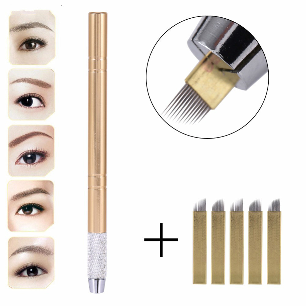 Manual 3D Eyebrow Tattoo Microblading Pen Permanent Makeup Gun Stainless Steel Tattoo Supplies + 5Pcs12 Pins Flat Blade Needles