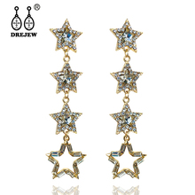 DREJEW Long Tassel Gold Big Star Rhinestone Statement Dangle Earrings 2019 925 Silver Drop for Women Wedding E8201