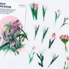 40PCS /Pack Mild Tulip Flower PVC Craft Sticker Notebook Diary DIY Decorative Stickers