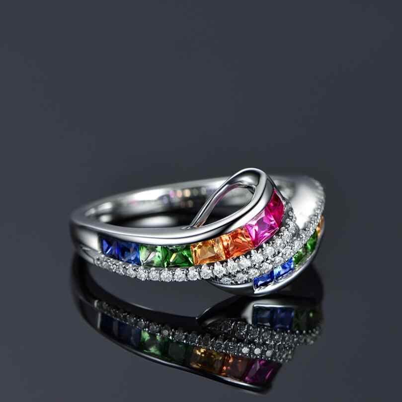 Neue Trendy Damen Weiß Gold Gefüllt Multicolor Regenbogen AAA Zirkon Elegante Ring Hochzeit Engagement Ringe Schmuck