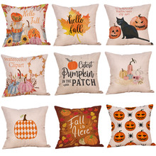 Pillowcase New Fashion Halloween Pillow Case Cotton Linen Cute Throw Cover Gift 45*45Cm taie doreiller