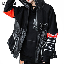 Windbreakers Punk-Coats Trenches Hooded Printed Vintage Women Ladies European-Designer