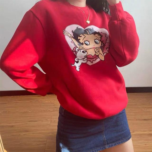 80s 90s American Vintage Cartoon Print Girl's Pullover Autumn Thick Warm Long Sleeve Hoodies Plus Size Loose Women Sweatshirts 2