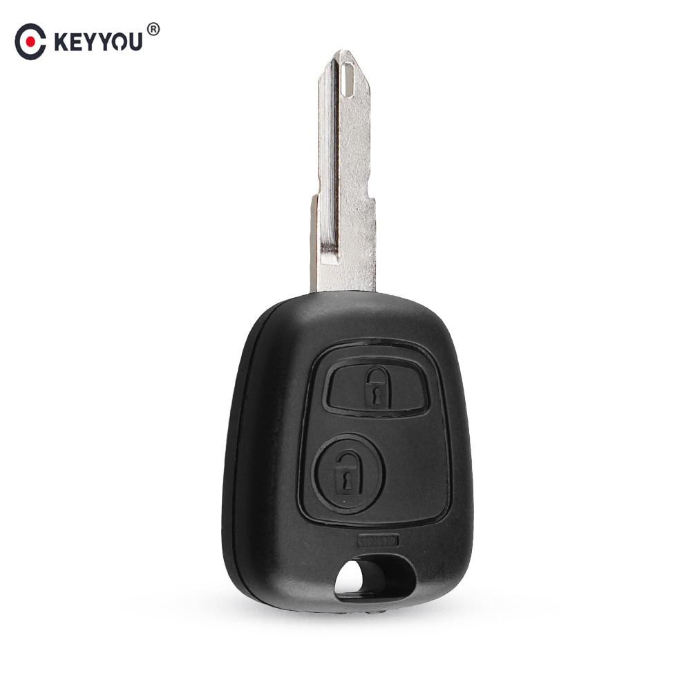 KEYYOU 2 кнопки дистанционного управления Заготовка ключа замка зажигания автомобиля оболочка Fob чехол для Peugeot 206 106 306 406 чехол для ключа NE73 Blade