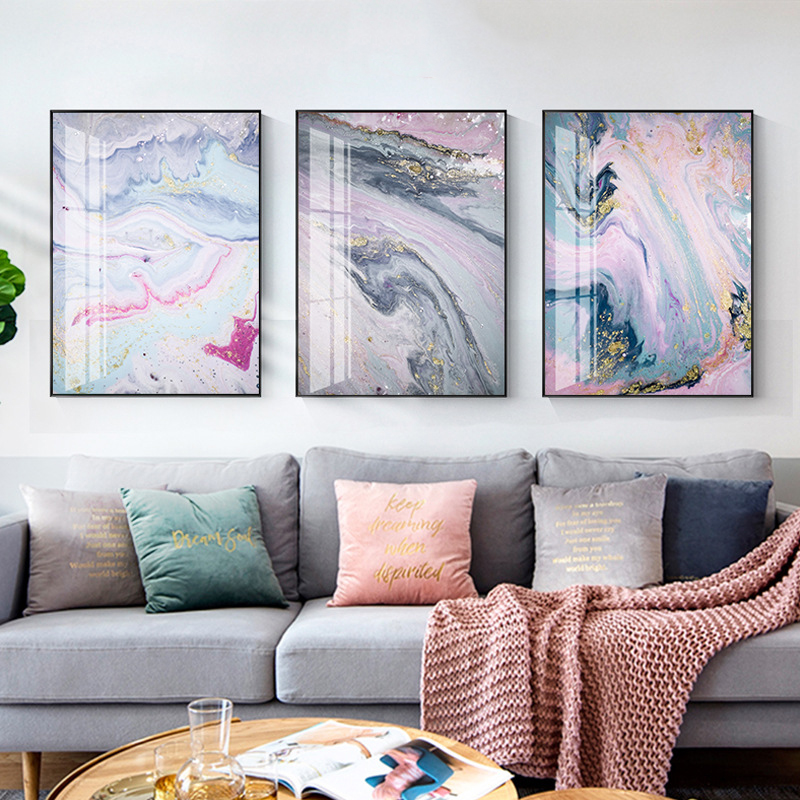 Nordic Colorful Golden Scandinavian Poster Modern Abstract Canvas Painting Wall Art Print Pictures for Living Room Home Decor