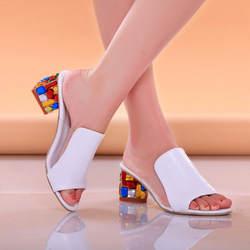Lucyever Для женщин Модные Летние босоножки копыта каблуки из металла обувь для вечеринок, открытый нос женские Повседневное Лакированная