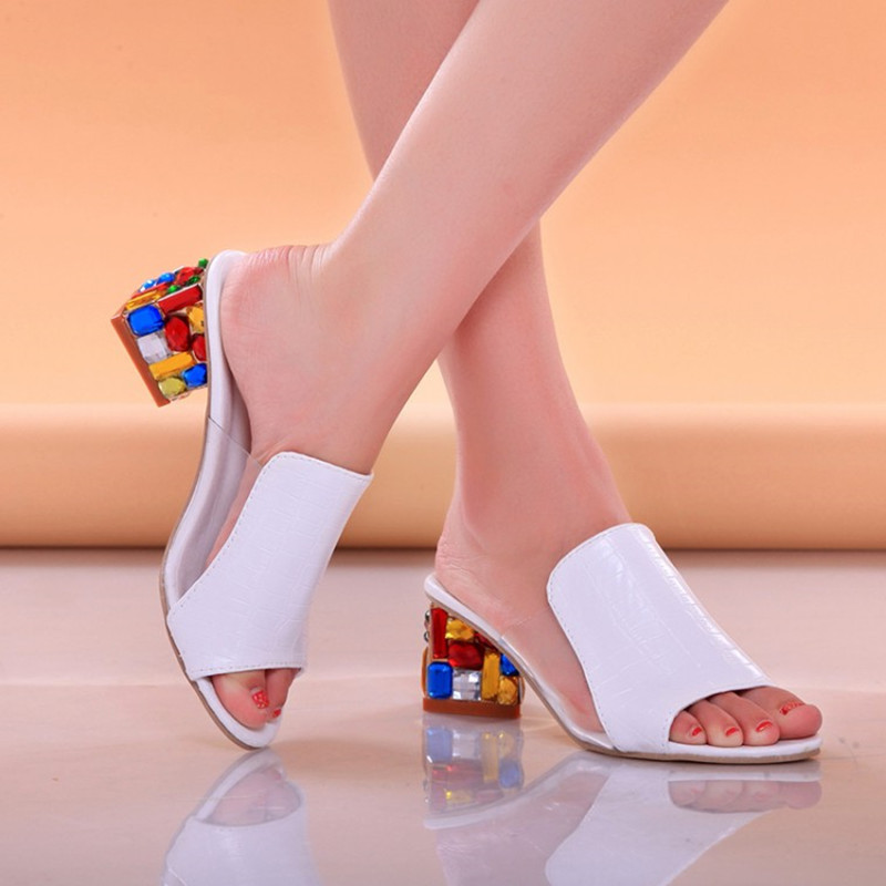 Lucyever Women Fashion Summer Sandals Hoofs Heels Metal Open Toe Party Shoes Woman Casual Patent Leather Lucyever Women Fashion Summer Sandals Hoofs Heels Metal Open Toe Party Shoes Woman Casual Patent Leather Rivets Flip Flops