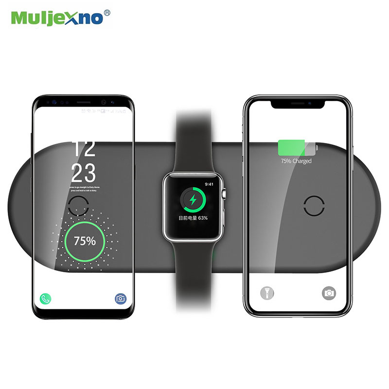 3 в 1 беспроводная зарядная подставка для Apple Watch Airpods iPhone 10 Вт Быстрая зарядка подставка держатель для samsung Xiaomi huawei мобильный телефон