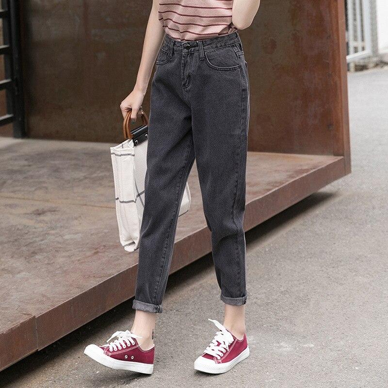 Gray Loose-Fit Harem Denim (Ankle-length Pants) Women's Loose Cowboy Pants Gray JEANS Women