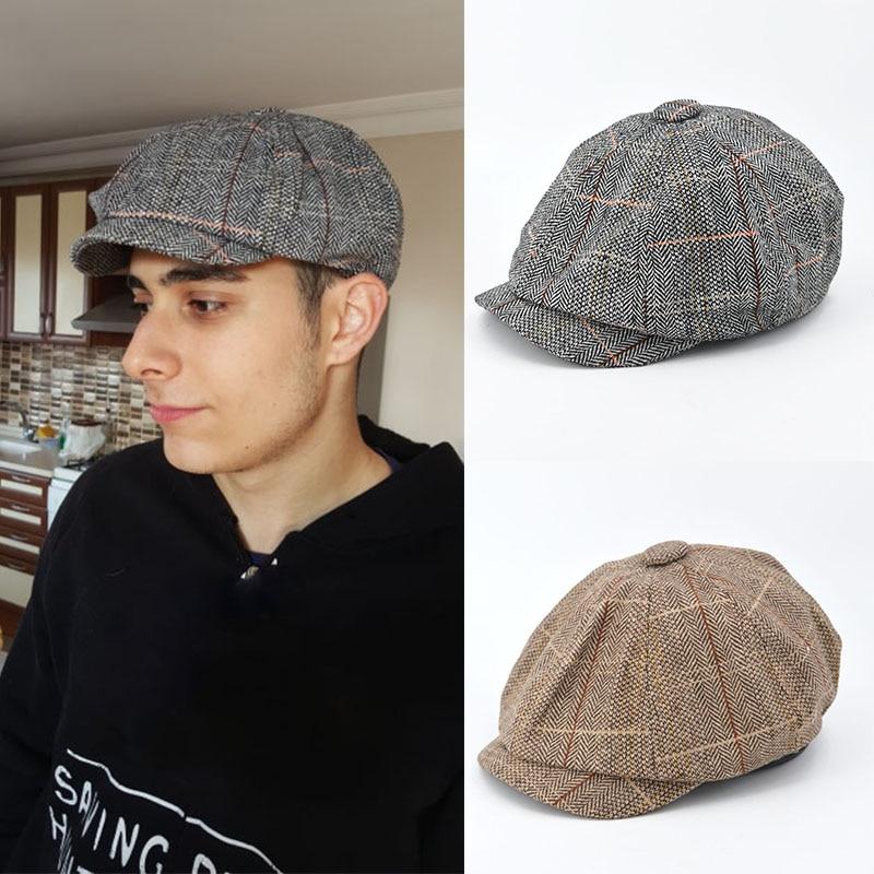 Men Beret Hat Gentleman Octagonal Cap Winter Spring Tweed Wool Newsboy Caps Plaid Man Beret 1