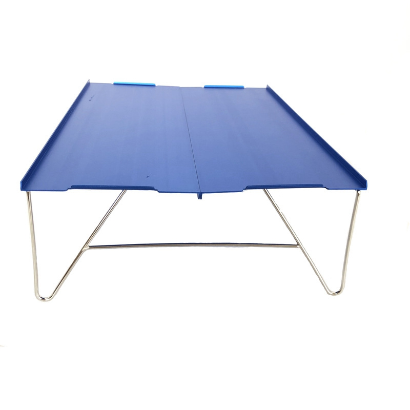 Picnic Mini Lightweight Durable Camping Furniture Portable Outdoor Hiking Single Desk Aluminum Plate Folding Table Barbecue(Blue