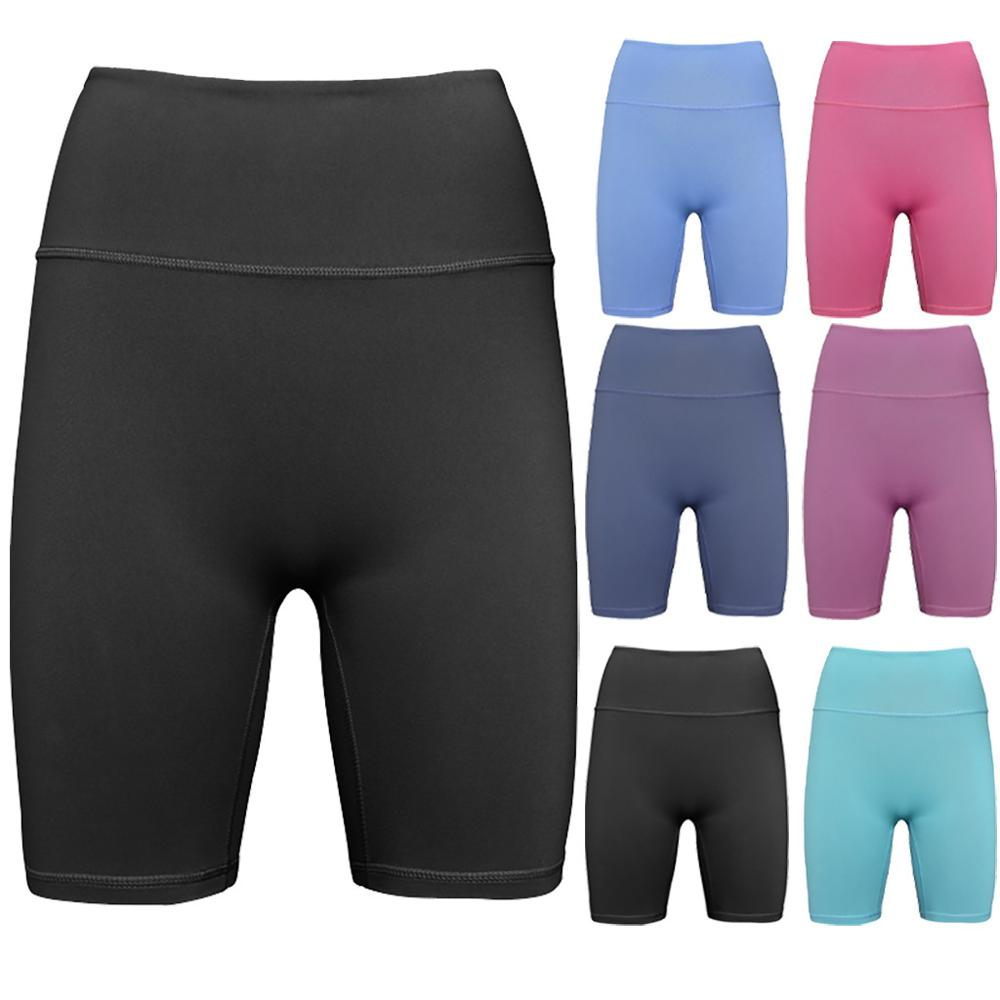 Women Yoga Shorts  Pure Color High Waist Carry Sports To Lift Buttocks  Workout Running Legging  Mayas Deportivas Mujer  W#