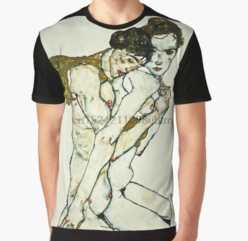 Camiseta con estampado en 3D para mujer, camiseta divertida para hombre, camiseta gráfica de Amistad Egon Schiele