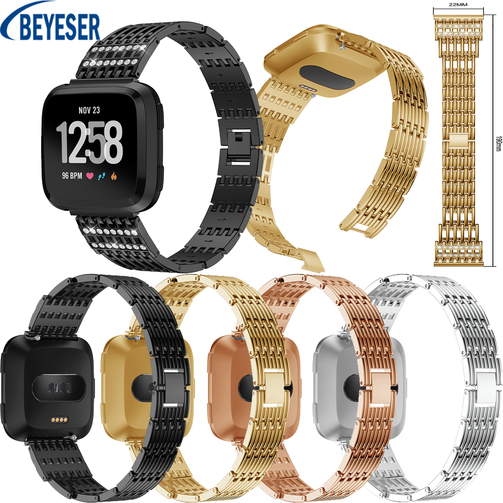 Luxury Elegant High Quality Comfortable Secure Bracelet Strap Rhinestone Replacement Stainless Steel Band Wrist For Fitbit Versa