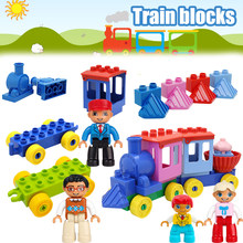 Pour Legoing Duplo Train ensemble rail plaque de Base modèle grande taille ville blocs de construction pièces compatibles Legoings Duploed Citys Trains(China)