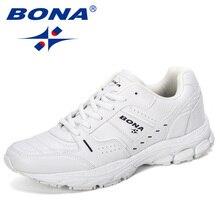 Мужские кроссовки BONA, новые дизайнерские кроссовки в популярном стиле для прогулок и бега, спортивная обувь для бега на шнуровке, 2019