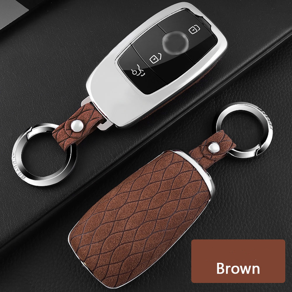 Car Key Case Keychain Cover Genuine Leather Galvanized Alloy for Mercedes Benz E Class W213 E320L E300L E200L S Class W222 2016