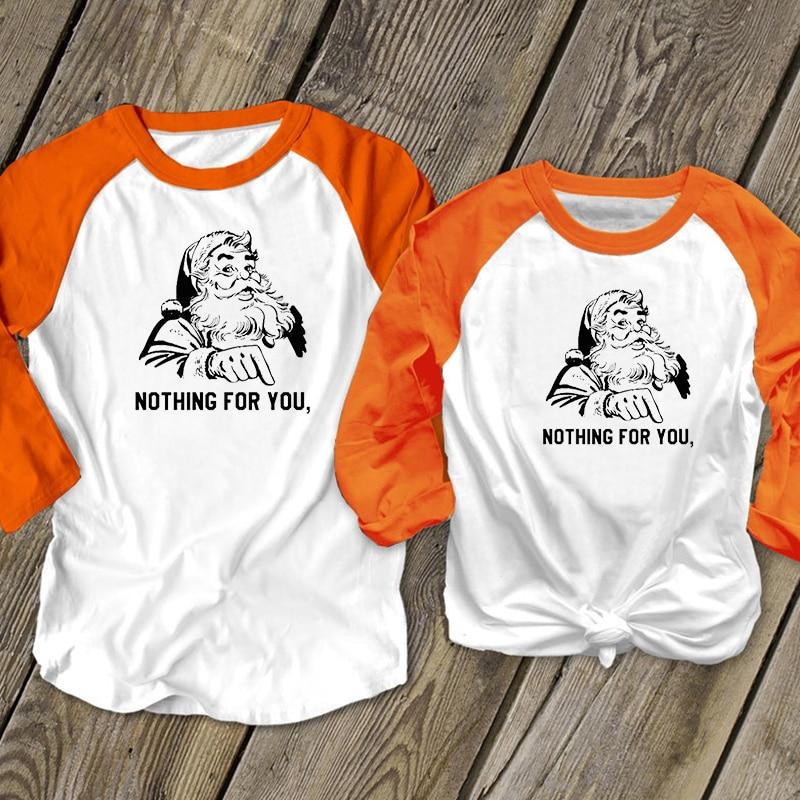 Santa Nothing for You Tshirt Women Vintage 90s Print Top Long Sleeve Streetwear Christmas Graphic Tees Woman 2019
