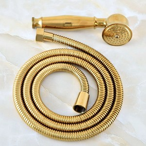 Image 5 - 1.5m זהב צבע פליז גמיש אמבטיה מקלחת צינור וטלפון סגנון כף יד מקלחת ראש mhh043