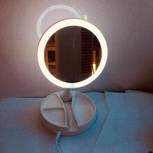 Cosmetic M irror LEDF Light Lamp Smart Cosmetic Mirror Portable Polarless Dimming  Round Cosmetic Mirror Folding Lamp Lumin retro portable cosmetic mirror