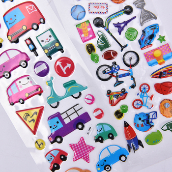 2PCS Kawaii 3D Cars Stationery Diary Planner Journal Note Paper Stickers for Scrapbooking DIY Stickers 17x7cm image