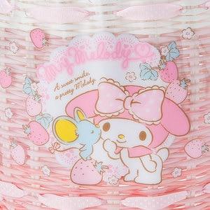 Image 4 - Cute Cartoon Little Twin Stars My Melody Plastic Woven Rattan Storage Basket Cosmetic Sundries Grocery Organizer Basket Bucket