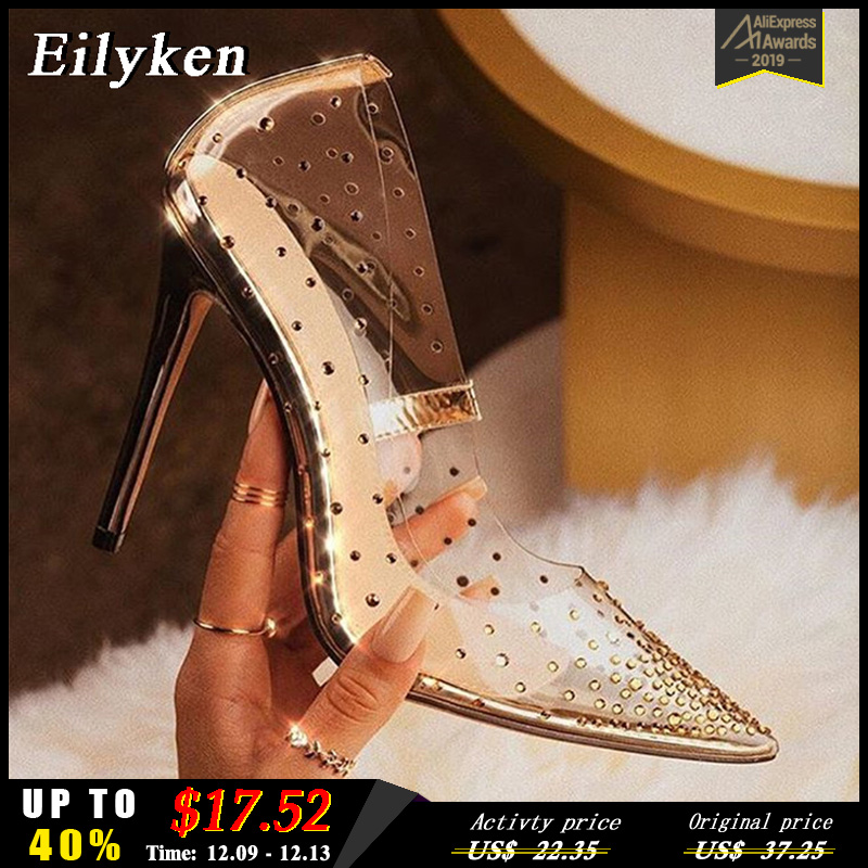 EilyKen Golden Rhinestone PVC transparent Women Pumps Shoes Spring Autumn High Heels PVC Sexy Party Wedding shoes size 41 42