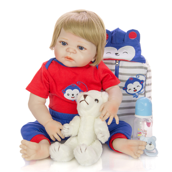 "Boneca reborn menino 23""57cm real silicone reborn baby dolls toys for children gift bebe reborn toddler toys"