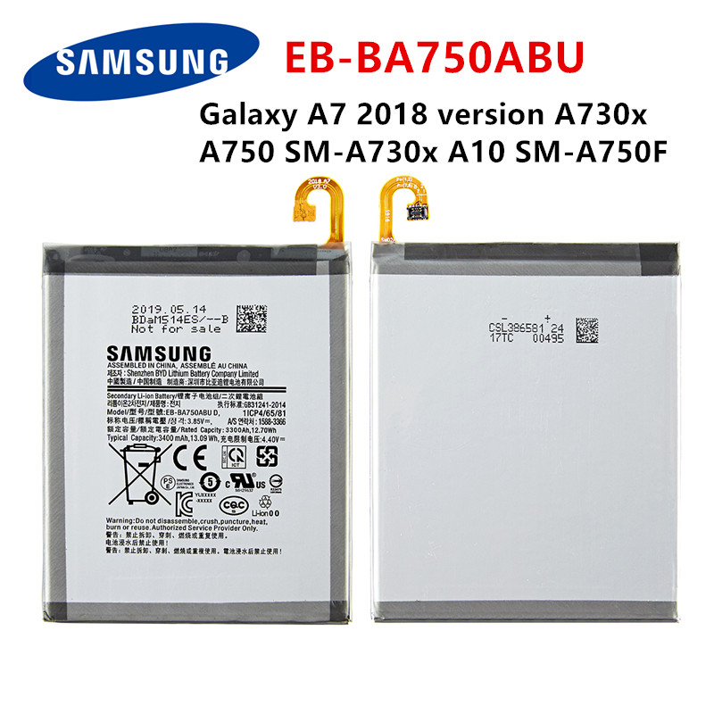 SAMSUNG Orginal EB-BA750ABU 3400mAh Battery For SAMSUNG Galaxy A7 2018 Version A730x  A750 SM-A730x A10 SM-A750F