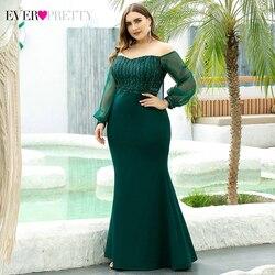 Большие размеры, блестящие платья для выпускного вечера, длинные платья Ever Pretty EP00711 с открытыми плечами и длинными рукавами, расшитые блестк...