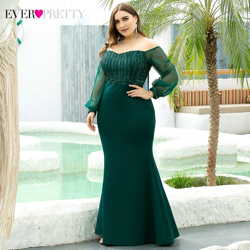Plus Size Sparkle Prom Dresses Long Ever Pretty EP00711 Off Shoulder Full Sleeve Sequined Mermaid Party Gowns Robe De Soiree