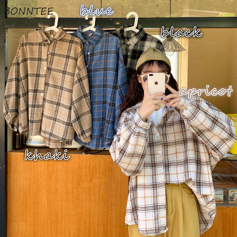 Blouses Shirts Women Plaid All match Harajuku Casual Loose Large Size 3XL Streetwear Preppy Batwing sleeve Womens Outwear 4color