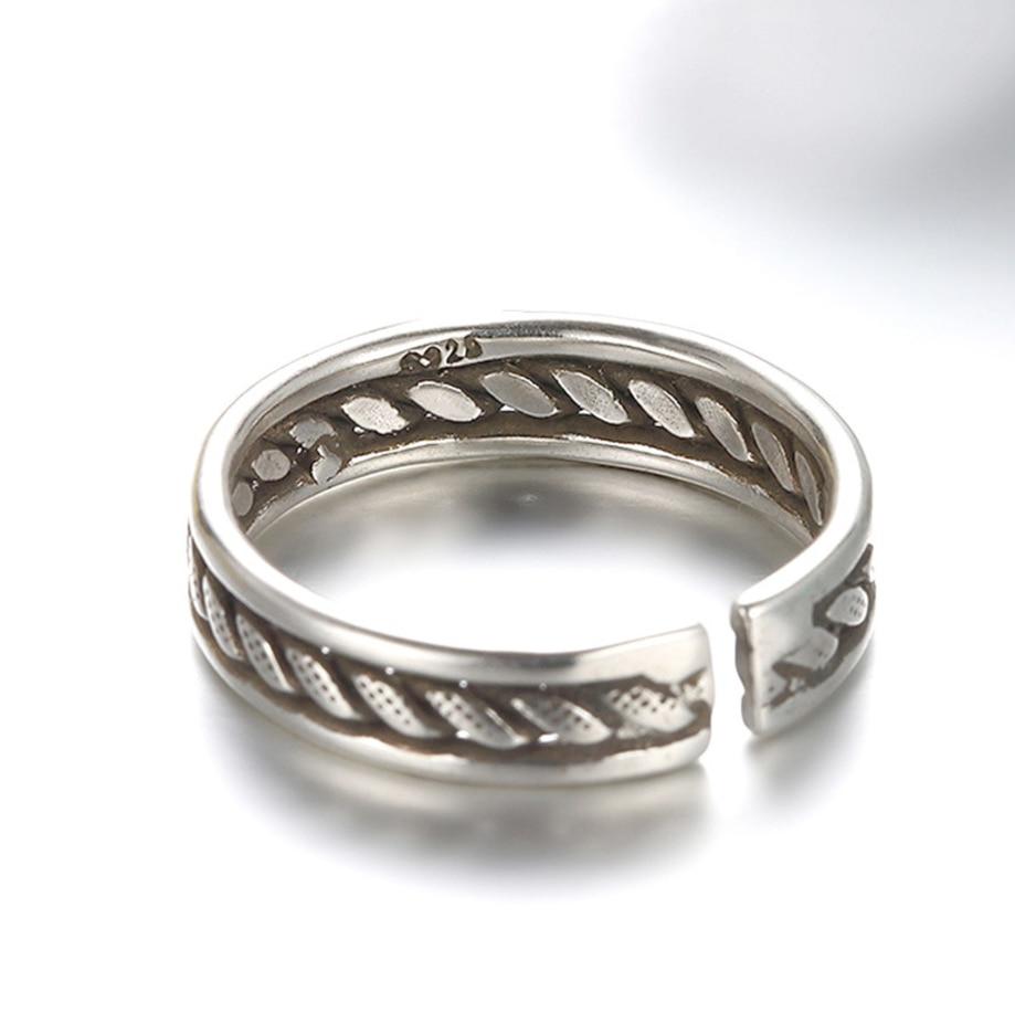 Moda lina kręcona łańcuch Thai srebrny otwarte pierścienie geometryczne 925 Sterling Silver biżuteria dla kobiet mężczyzn prezenty S-R67